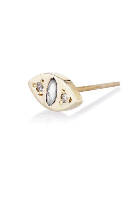 SCOSHA CAT EYE STUD IN GOLD WITH DIAMONDS