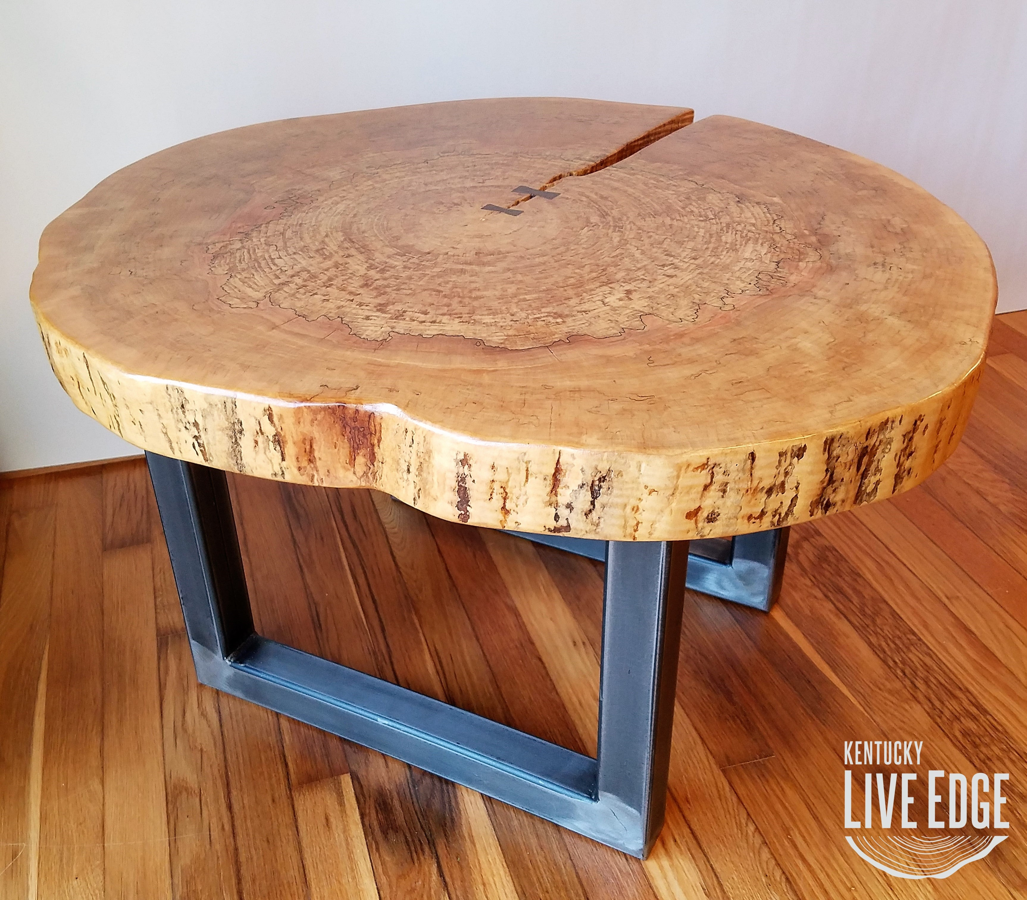 - Round Coffee Table- Live Edge- Industrial- Tree Slice- Log- Rustic