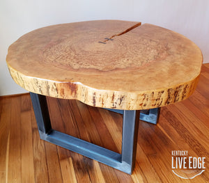 Round Coffee Table- Live Edge- Industrial- Tree Slice- Log- Rustic- Furniture- Living Room- Side Table- End Table- Natural Wood- Maple Slab