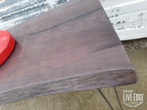 Ready to Ship- Live Edge Desk- Fumed Oak- Live Edge Sofa Table- Live Edge Console Table- Foyer Table- Weathered Wood- Distressed- Sinker- Gray- Purple