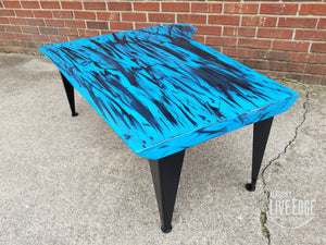 Royal Blue Coffee Table- Live Edge Coffee Table- Walnut- Modern- Contemporary- Furniture- Handpainted- Graffiti- Abstract- Industrial- Cool