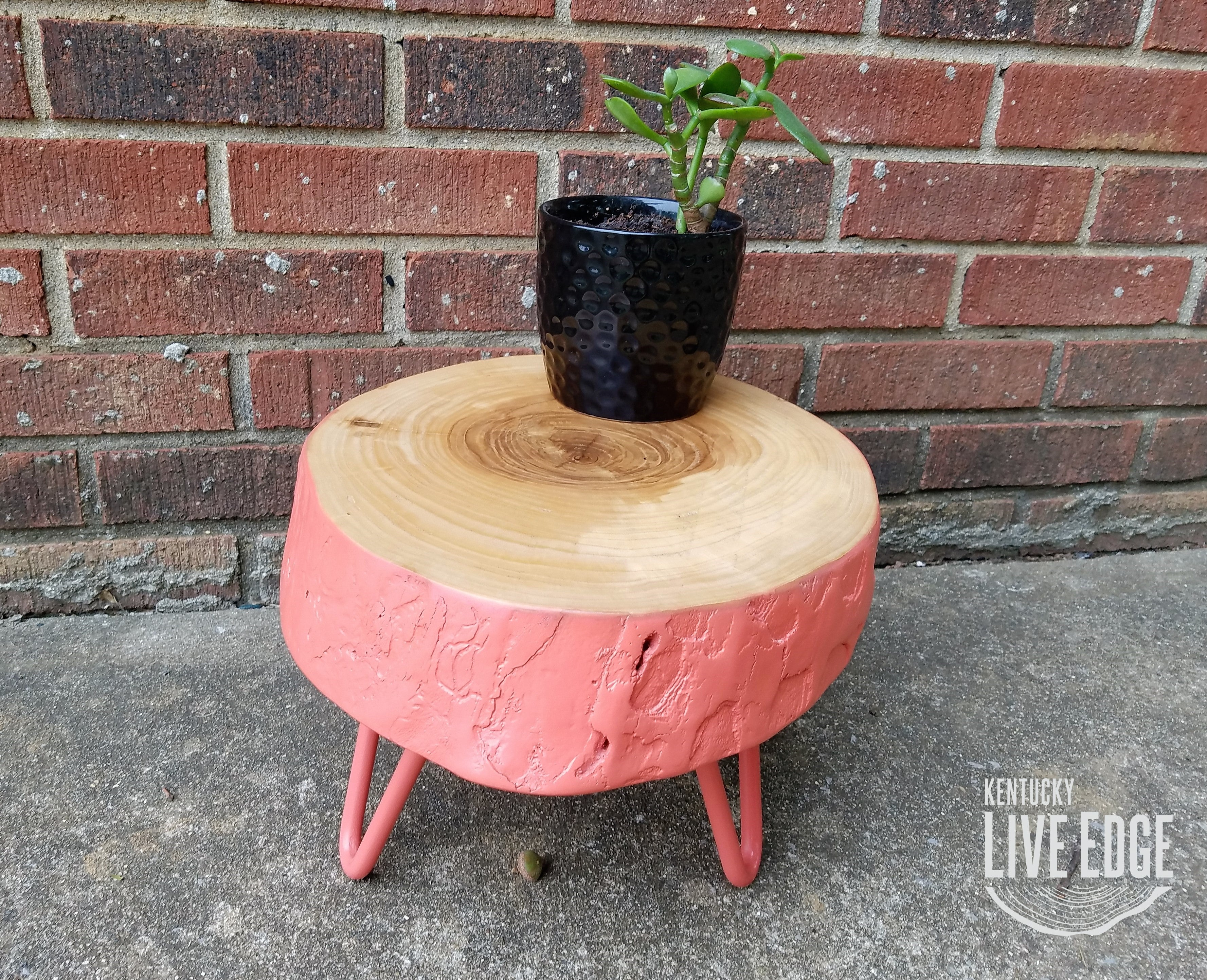 Plant Stand Pink Log Side Table Step Stool Reclaimed