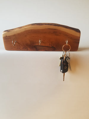 Key Hook- Wall Mounted Key Rack- Key Holder- Live Edge Wood- Silver Hooks- Jewelery Organizer- Functional Home- Reclaimed- Keychain Holder