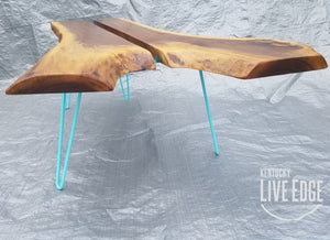 Teal Coffee Table- Live Edge- Turquoise- Mid Century- Organic- Modern- Rustic- Reclaimed- Furniture- Handmade- Living Room- Unique- Large