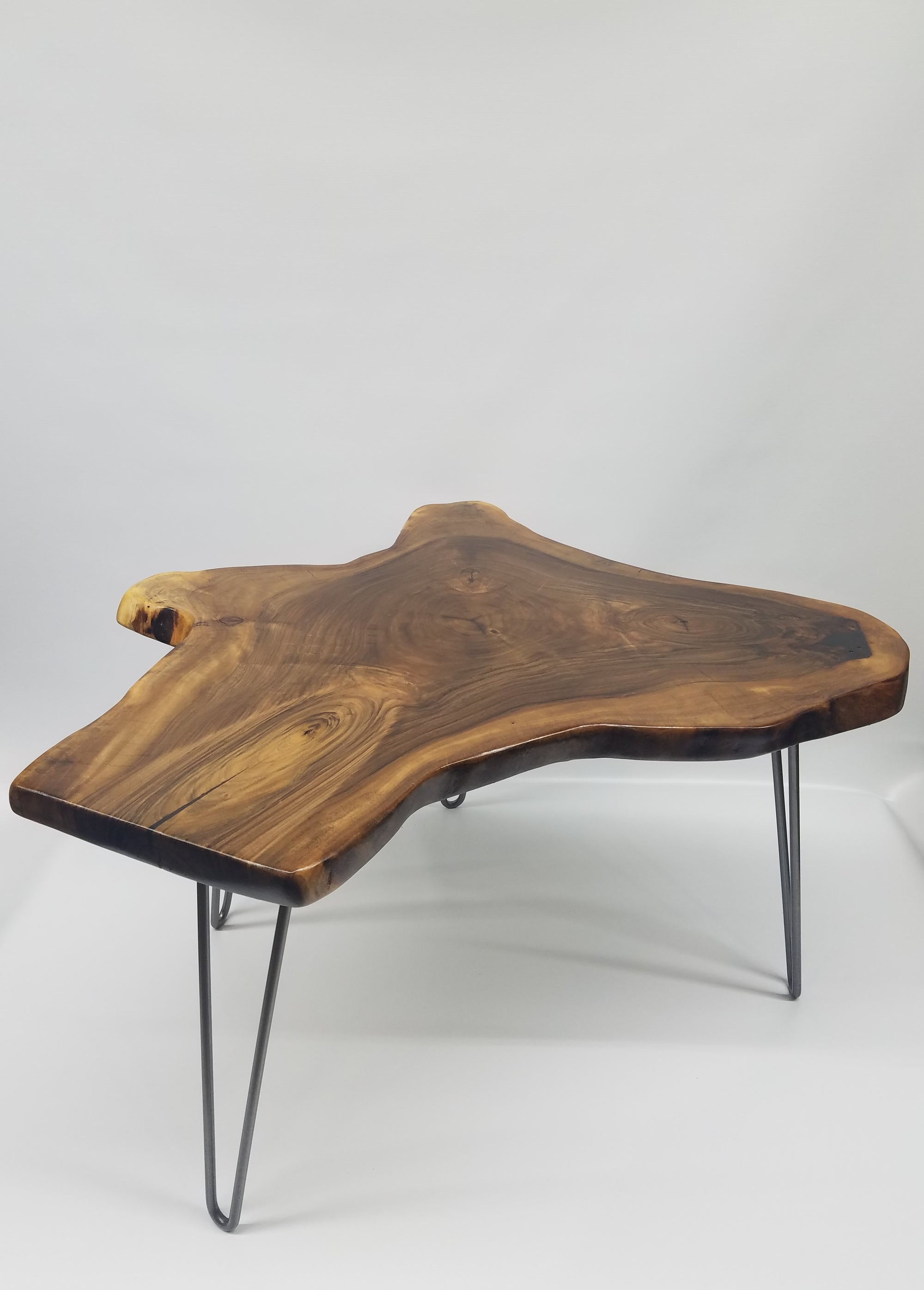 Live Edge Coffee Table- English Walnut- Tree Slice- Organic Shape- Natural Wood- Round Table- Mid Century- Modern- Rustic- Dark Wood- Cool
