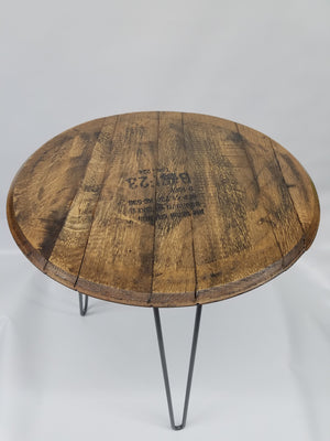 Authentic Kentucky Bourbon Barrel Head End Table- Reclaimed Bourbon Barrel- Steel Hairpin Legs- Side Table- Coffee Table- Whiskey- Jim Beam