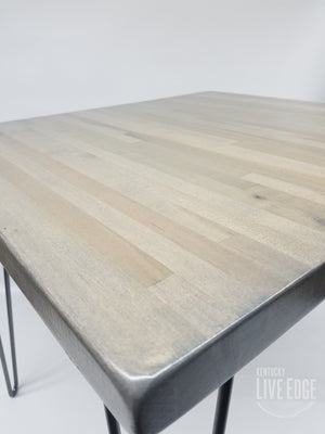Gray Side Table- Gray End Table- Reclaimed Butcher Block Table- Solid Maple- Steel Legs- Industrial- Coastal- Modern- Minimalist- Cool Table