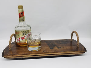 Bourbon Barrel Serving Tray- Authentic Reclaimed Kentucky Bourbon Barrel- Barware- Wooden Server- Reclaimed Wood- Bourbon Gift- Makers Mark