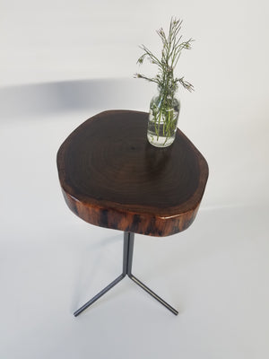 Live Edge Side Table- Walnut- Small End Table- Plant Stand- Tree Slice- Natural Wood- Industrial- Mid Century- Steel Base- Tripod- Log Table
