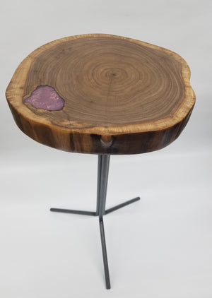 Live Edge Plant Stand- Walnut- Small End Table- Side Table- Tree Slice- Natural Wood- Industrial- Mid Century- Steel- Drink Stand- Purple