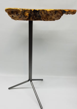 Buckeye Burl Side Table- End Table- Plant Stand- Tree Slice- Live Edge- Natural Wood- Industrial- Mid Century- Steel- Slab Table- Artistic