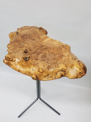 Maple Burl Slab End Table- Drink Stand- Side Table- Plant Stand- Foyer Table- Statuary Stand- Unique Furniture- Handmade Table- Gold- Brown
