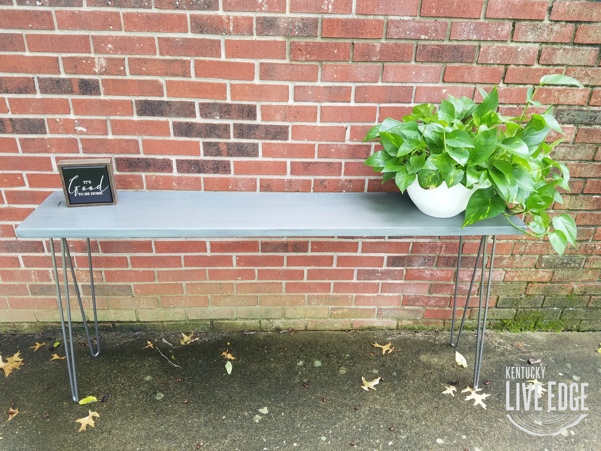 Gray Sofa Table- Console Table- Foyer Table- Narrow- Tall Table- Walnut- Hardwood- Steel Legs- Furniture- Rustic- Modern- Mid Century- Gray