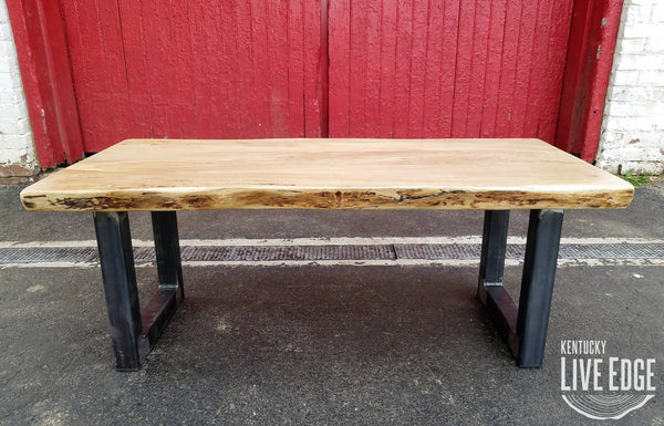 Reclaimed Live Edge Maple Coffee Table Bench Industrial