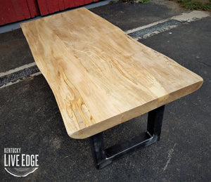 Reclaimed Live Edge Maple Coffee Table- Bench- Industrial Coffee Table- Large Coffee Table- U Shape Steel Legs- Sustainable- Light Wood