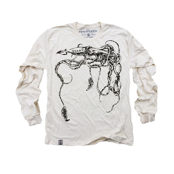 The Giant Squid: Organic Fine Jersey Long Sleeve T-Shirt in Unbleached Natural