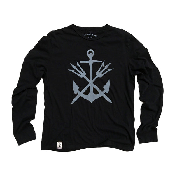 Anchor & Tridents: Organic Fine Jersey Long Sleeve T-Shirt in Black