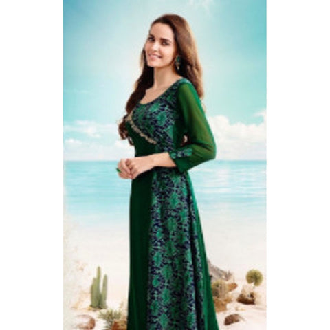 Gethuda Tumba Embroidered Blue Green Georgette Kurti/Tunic