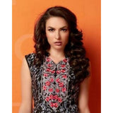 Gethuda Black White Floral Glaze Cotton Kurti / Tunic