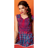 Gethuda Red Blue Cool Glaze Cotton Kurti / Tunic
