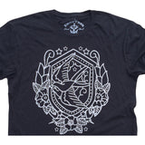 Nautical Swallow:  Organic Fine Jersey Short Sleeve T-Shirt in Black