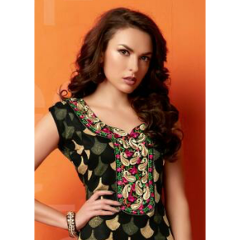 Gethuda Glaze Cotton Green Floral Kurti / Tunic