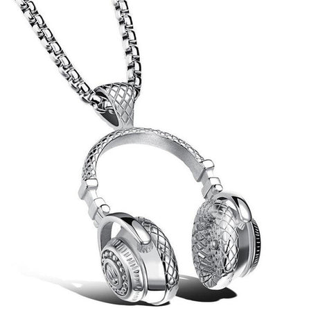 Stainless Steel Headphones Pendants Necklaces