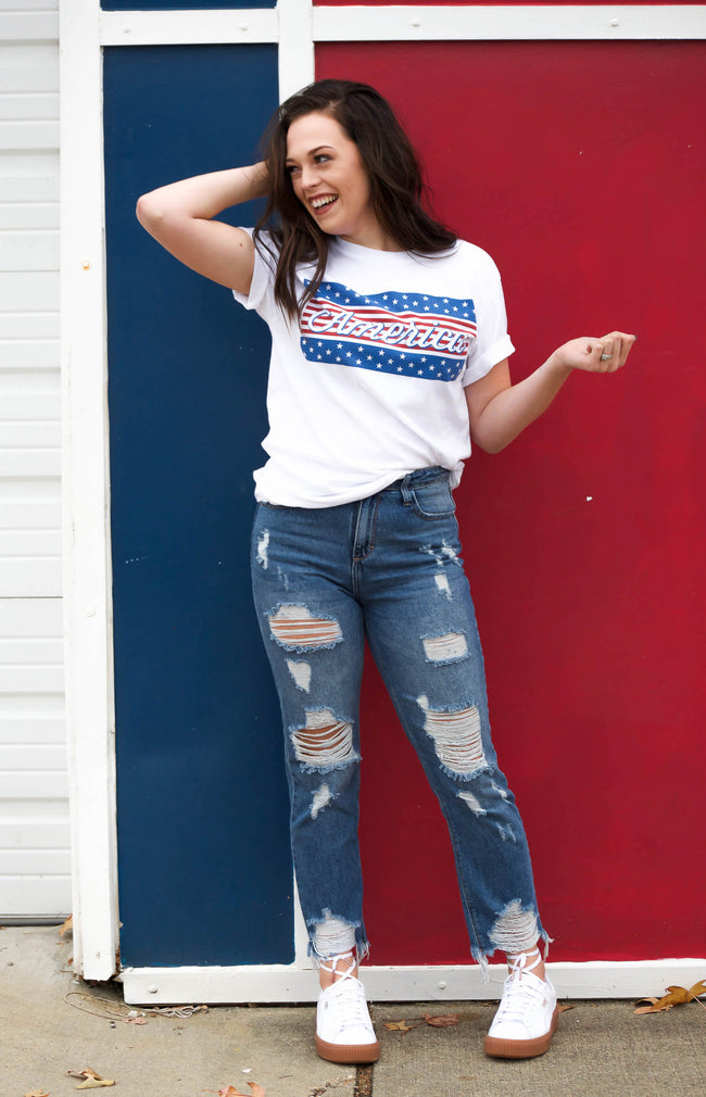 Graphic T-shirt for women, red, white and blue America Graphic