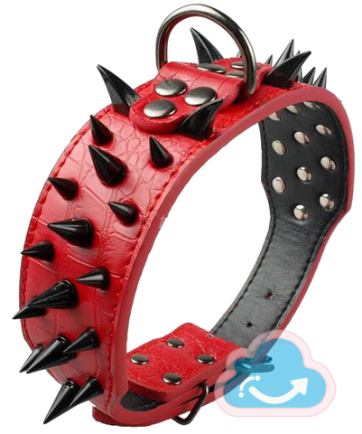 Sharp Spiked Studded Leather Dog Collar - Monag Store