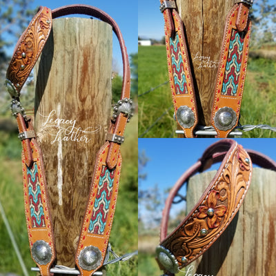 Beaded, Tooled, and Blinged Buckstitched Headstall