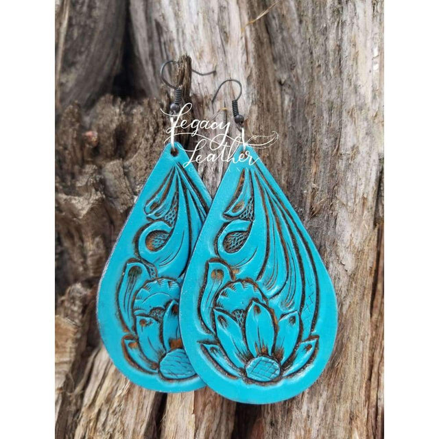 Turquoise Antiqued Tooled Earrings Earring Legacy Leather Co.