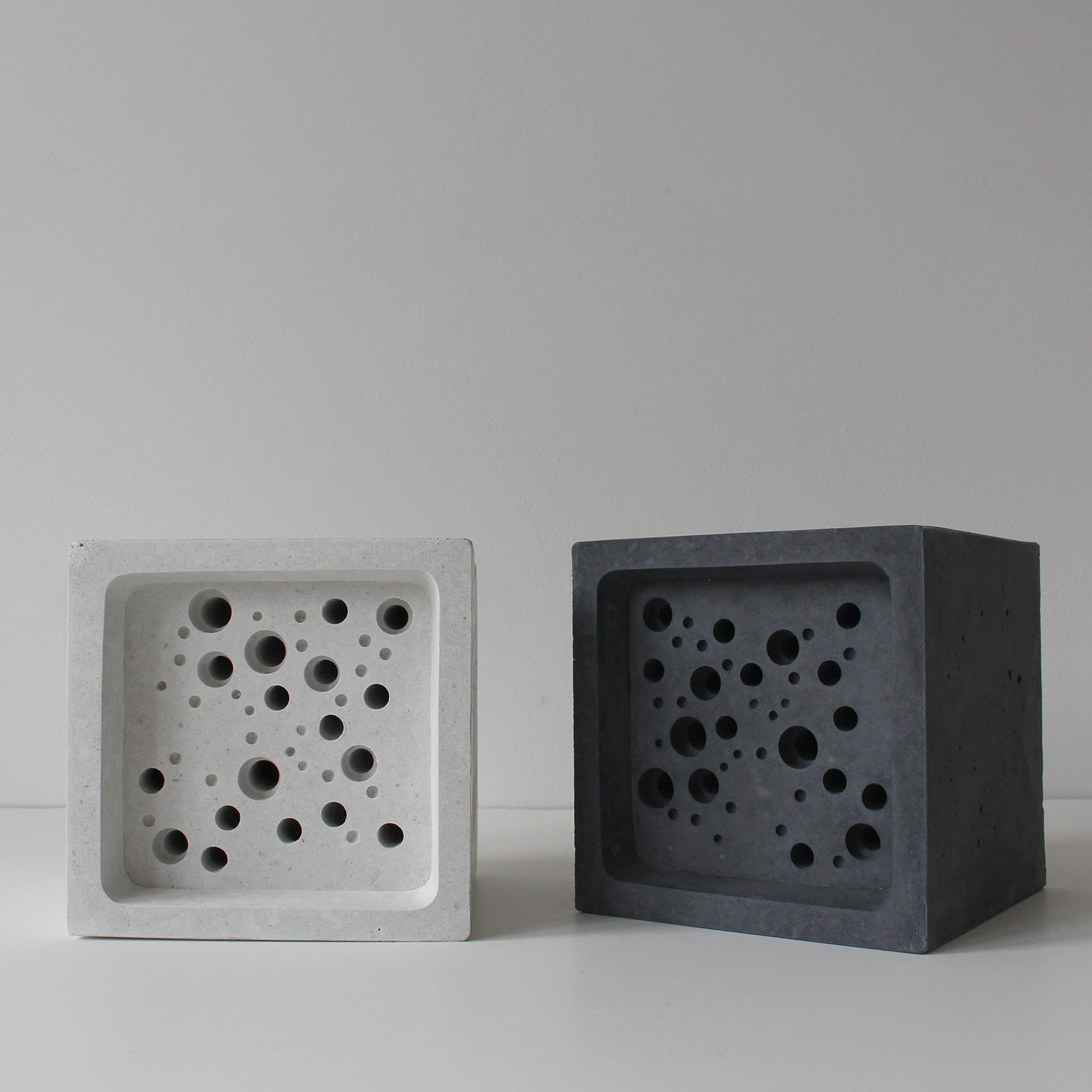 Concrete bee blocks in white and grey