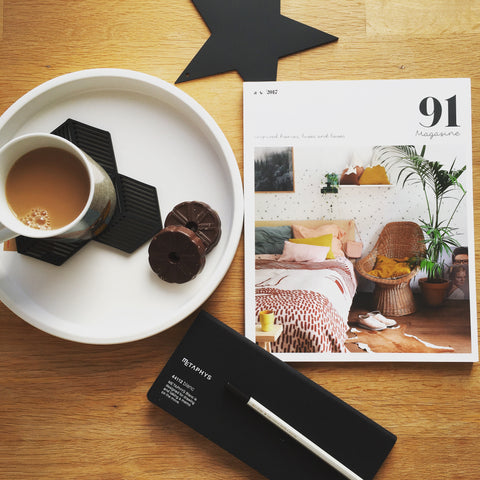 91 Magazine with cup of tea