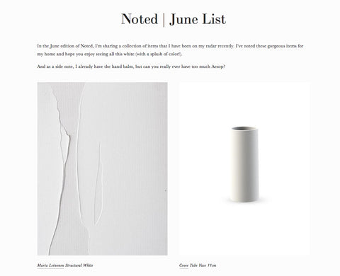 Screen shot from Blog - 'Noted: June List'