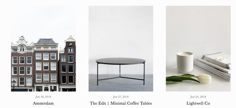 Screen Shot showing 3 blog posts - Amsterdam, Minimal Coffee Tables, Lightwell Co.