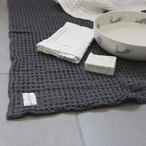 Bath Mat with cloth, soap and bowl of water