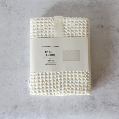 White Organic Cotton Bath Mat in packaging