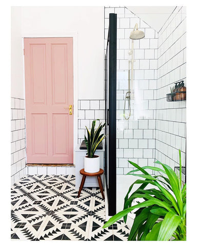 Bright black and white bathroom with pink door