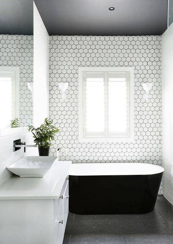 Bathroom with honeycomb tiles