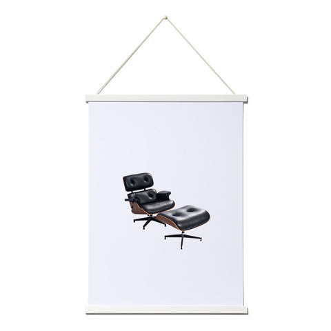 White picture frame with chair print