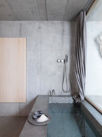 Built in concrete bath