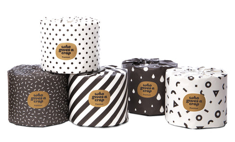 Collection of toilet rolls in monochrome packaging