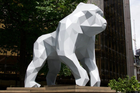 Giant geometric gorilla sculpture