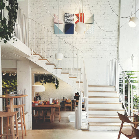 White stairs in cafe