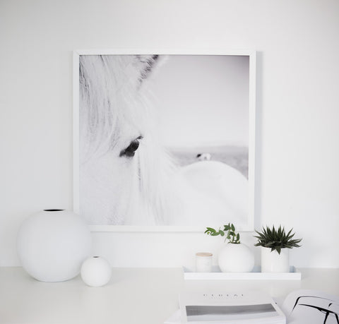 Icelandic Horse print on table with white ceramics