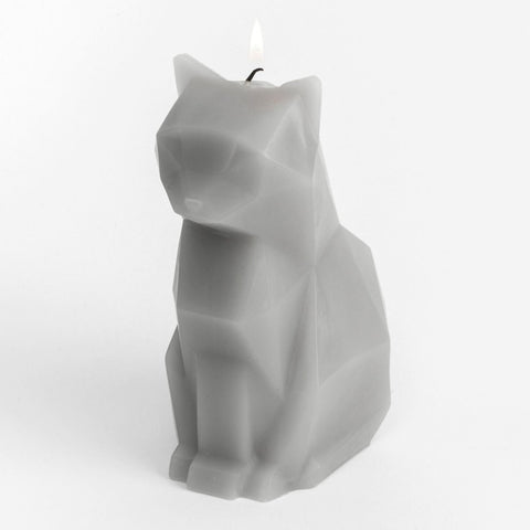 Grey geometric cat candle