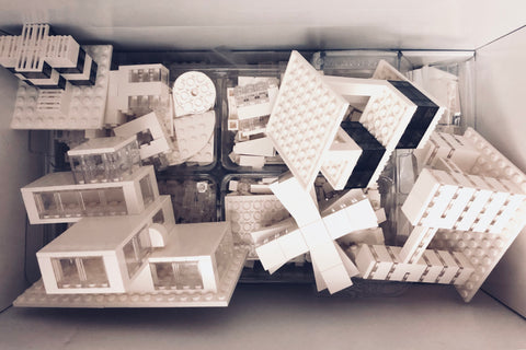 Box of monochrome lego
