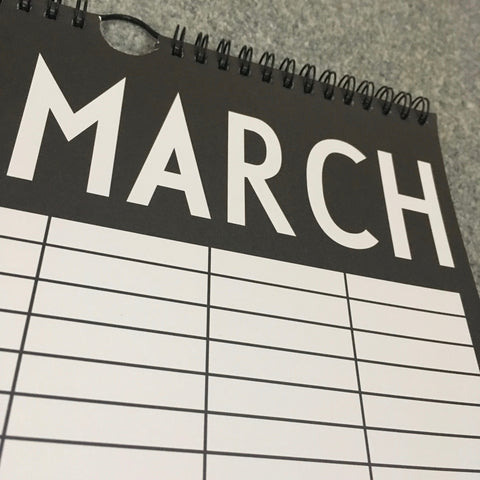 Close up of March on Calendar