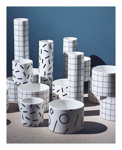 The Memphis Collection by Jack Laverick - retro inspired porcelain planters