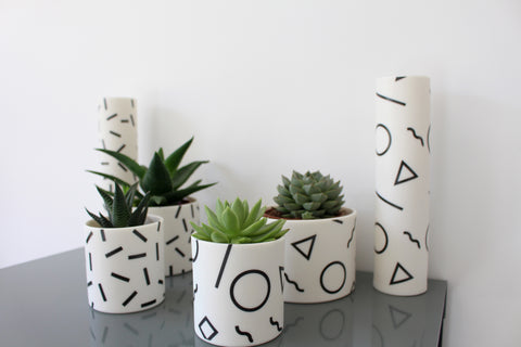 Memphis Collection by Jack Laverick - retro-inspired porcelain planters. With cactii and succulents